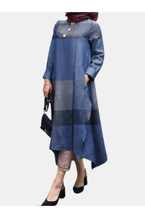 Newchic Mujer Maxi - Color Blocks Print Long Sleeve O-neck Vintage Plus Size Dress