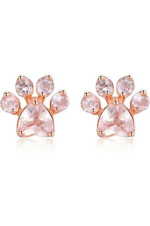 Newchic Sweet Cute Cat Paw Pendientes Fashion Rose Gold Earrings Pink Claw Dog Paw Stud Pendientes para Mujeres