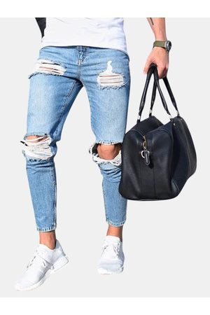 Newchic Hombre Skinny - Ripped Stylish Low Waist Skinny Washed Blue Jeans para hombres