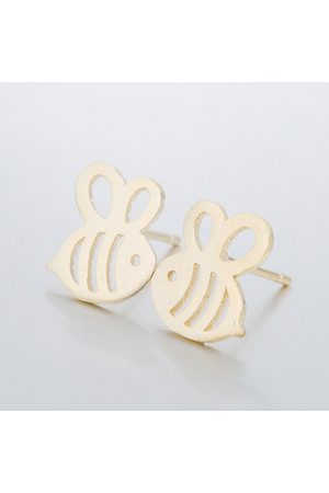 Newchic Cute Hollow Bees Stud Pendientes Silver Gold Sweet Insect Ear Stud accesorios para mujeres