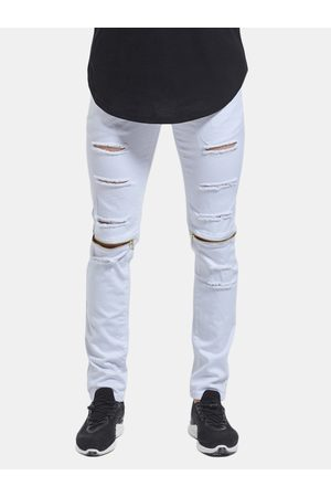 Newchic Skinny Hip Hop Ripped Holes Knee Zipper Jeans para hombres