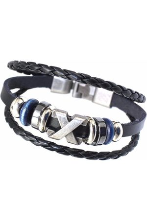 Newchic Vintage Multilayer Cuff Bracelet Leather Oval Beads Rope pulseras Ethnic Jewelry para hombres