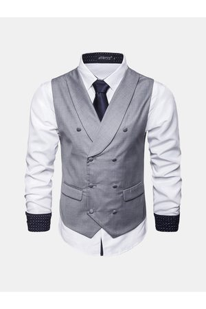 Newchic Hombre de negocios Solid Color Solapel Collar Single Breasted Vest