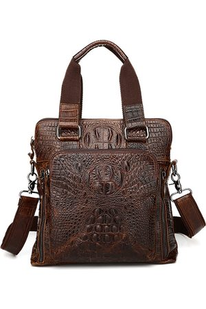 Newchic Hombre Tablets y laptops - Hombres Piel Genuina Alligator Business Bolsa Bolso Laptop Bolsa Maletín Crossbody Bolsa