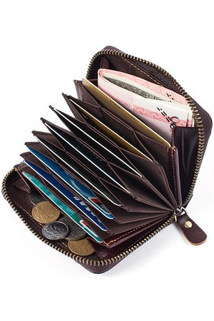Newchic Piel Genuina 10 Multi-slots Card Holder Organ Style Billetera Purse Key Key Holder Paquete de tarjetas para hombres