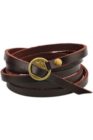 Newchic Mujer Pulseras - Pulsera Retro Multi Capa Leather Brown Men Bracelet Creative Alloy Bracelet para Hombres Mujer