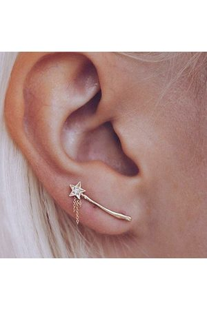 Newchic Trendy Star Magic Wand Pendientes Diamond Gold Shimmer Earrings para mujeres