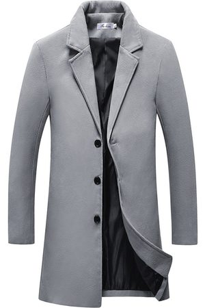 Newchic Mens Mid Long color sólido Single Breasted Slim Fit Casual Business Trench Coat