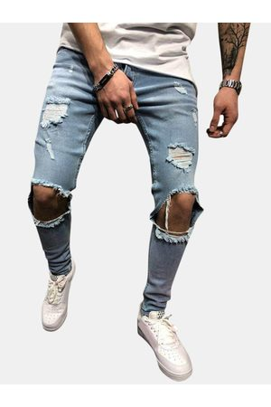 Newchic Hip-Hop Knee Big Hole Skinny Fashion Jeans para hombres