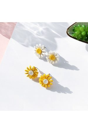 Newchic Pendientes lindos Sweet Daisy Flower Stud Pendientes Fashion Yellow White Earrings para Mujeres