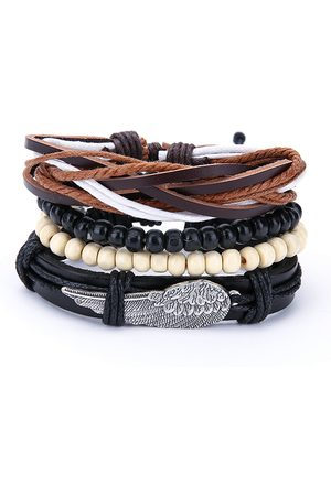 Newchic Punk Mens Multilayer Leather Pulseras Vintage trenzado Woven Wing Charm Black White Beads Pulsera
