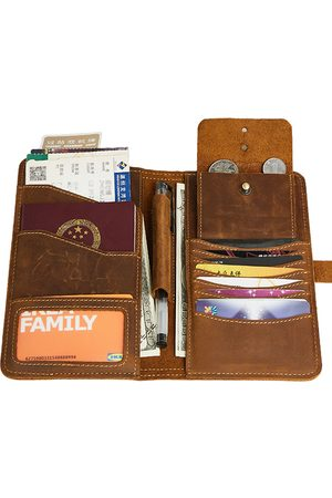 Newchic Vendimia Piel Genuina Passport Long Wallet Clutch Bolsa Para Hombres