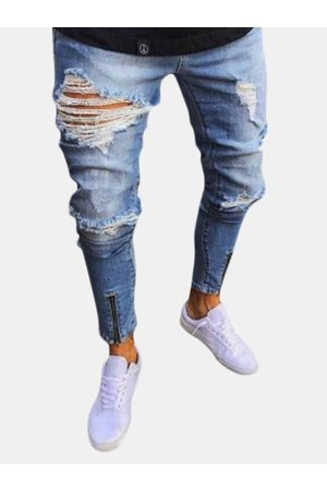 Newchic Skinny Stylish Ripped Zipper Diseño Jeans para hombres