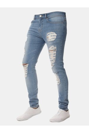 Newchic Skinny Ripped Holes Pencil Pants Jean para Hombres