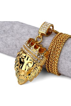 Newchic Hip Hop Fashion Gold Chain King Crown Lion Head Collar colgante de oro para hombre