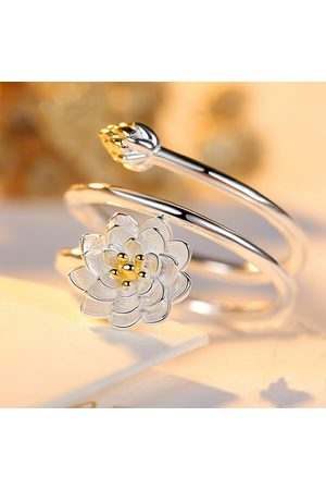 Newchic Étnicos para mujer anillos chapados en plata Lotus Charm Solid Flower apilable ajustable Open-end Rings