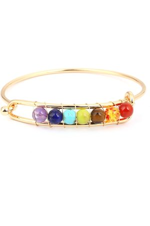 Newchic Yoga Balance 7 Chakra Colorful Beads Ball Crystal Bangle pulsera de la amistad de oro para las mujeres