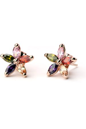 Newchic Luxury Rose Gold Earrings Colorful Zirconia Flower Stud Pendientes Classic Fine Jewelry for Women