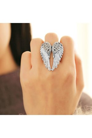 Newchic Punk Angel's Wings Ring Statement Full Rhinestone Ajustable Unique Anillos de Compromiso para Mujer