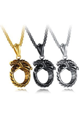 Newchic Hombre Collares - Punk Men's Stainless Steel Ouroboros Serpent Bite Tail Charm Necklace Vintage Jewelry for Men
