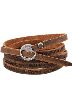 Newchic Punk PU Leather Ancient Wristband Simple Word Love pulsera de múltiples capas para hombres regalo
