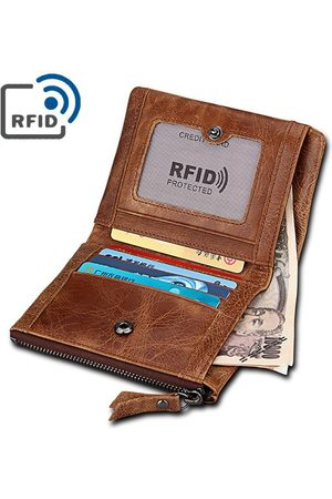 Newchic RFID 5 titulares de tarjetas vendimia Piel Genuina Coin Bolsa Casual Wallet For Men