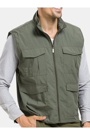 Newchic Chaleco casual impermeable y transpirable Qiuck-Dry para hombre, sin mangas, de color sólido.