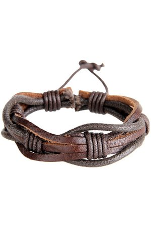 Newchic Punk Cuff Pulseras Handmade Waves Coffee Leather Pulsera Ethnic Jewelry para hombres