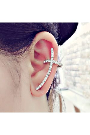 Newchic Trendy Ear Clip Long Cuff Earrings Elegante Rhinestone Cross Silver Gold Pendientes Jewelry for Women