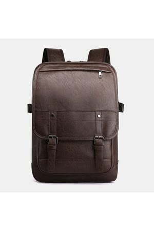 Newchic Men Flap PU Leather Bolsa Casual Mochila sólida