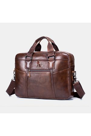 Newchic Hombres Impermeable Piel Genuina Business Briefcase Laptop Bolsa