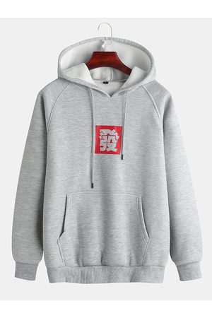 Newchic Caracteres chinos para hombre Fortune Rich Solid Color Print Hoodies