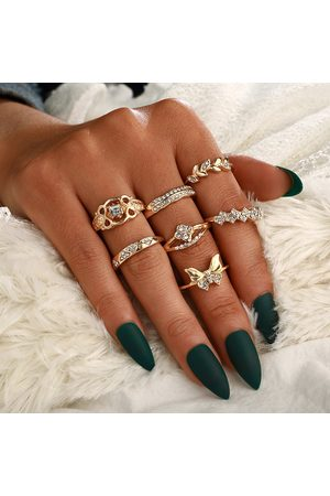 Newchic Bohemian Metal Hoja Rhinestone Ring Set Geometric Butterfly Hollow Diamond Ring