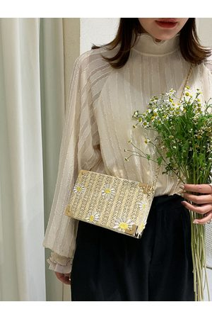 Newchic Summer Daisy Straw Phone Crossbody Bolsa