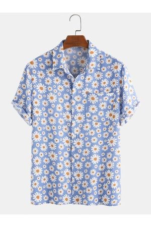 Newchic Hombre Playeras - Hombres Daisy Print Chest Pocket Holiday Casual Camisa