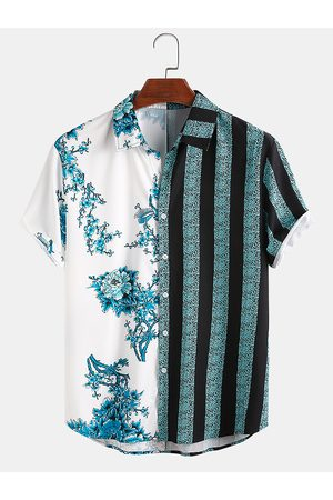Newchic Hombre Floral y Rayas Patchwork Holiday Casual Camisa