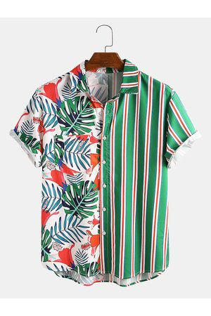 Newchic Hombre Playeras - Hombres Tropical Print Rayas Patchwork Casual Holiday Curved Dobladillo Camisa