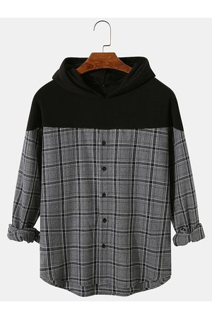 Newchic Hombre Patchwork Check Button Up Mangas largas Camisa Sudaderas con capucha casuales