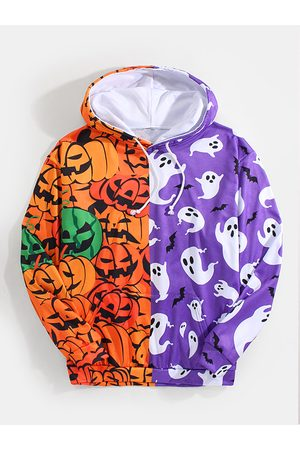Newchic Hombre Halloween Patchwork Allover Pumpkin Animal Print Pouch Pocket Drawstring Hoodies