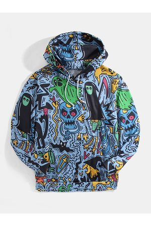 Newchic Hombres Halloween Allover Funny Ghost Print Kangaroo Pocket Drawstring Hoodies