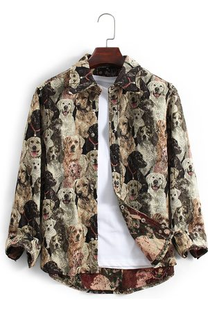 Newchic Hombre 3D Allover Perro Print Roving Button Up Solapa Collar Casual Overshirt