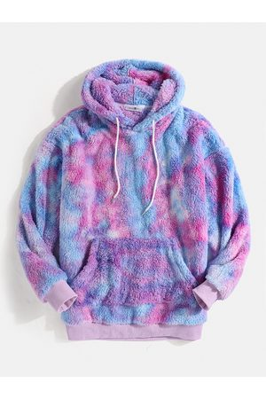 Newchic Hombre Colorful Tie-Dye Fluffy Pouch Pocket Teddy Capucha