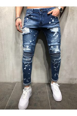 Newchic Hombre Skinny Solid Ripped Washed Jeans
