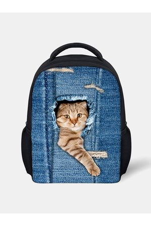 Newchic 3D Animal Creative Cartoon Cute Gato Imprimir Mochila de estilo casual Mochila