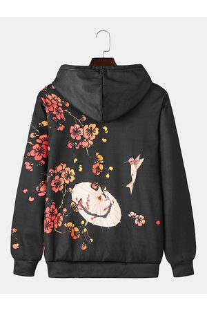 Newchic Mens Letter Ombre Floral Print Casual Kangaroo Pocket Capucha