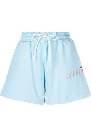 Msgm Mujer Estampados - Shorts deportivos con eslogan estampado