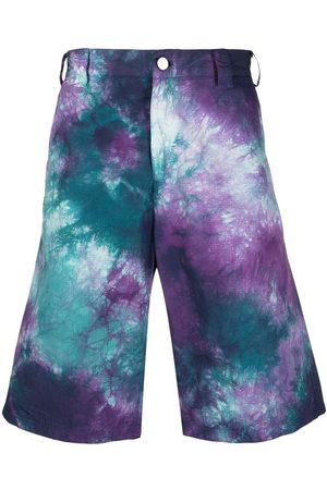 MAUNA KEA Hombre Bermudas - Shorts de ciclismo con estampado tie-dye