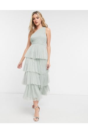 ANAYA With Love Bridesmaid tulle one shoulder ruffle tiered midaxi dress in sage