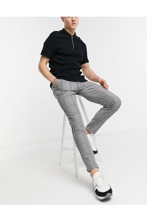 Jack & Jones Intelligence check trouser in grey