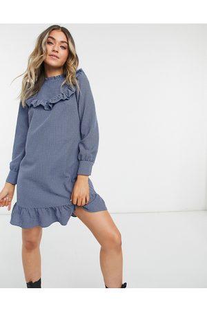 New Look Frill bib mini dress in blue gingham